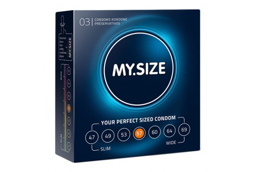 my size natural condom latex 57mm 3 uds