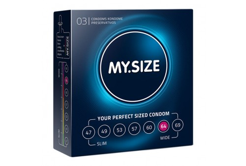 my size natural condom latex 64 mm 3 uds