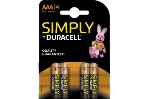 duracell simply pila alcalina aaa lr03 mn2400 4ud