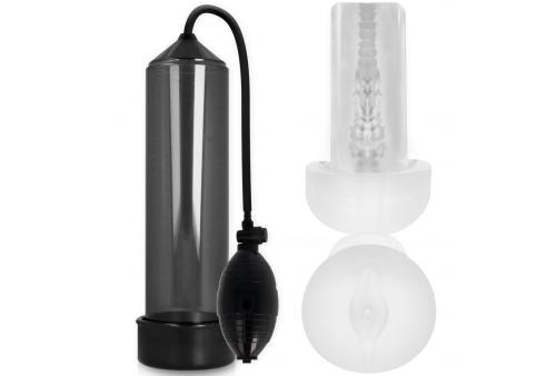 pump addicted rx3 bomba erección transparente con masturbador