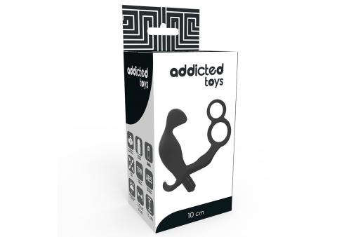 addicted toys plug anal con anilla doble pene y testiculos negro
