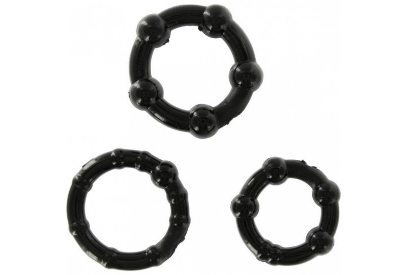 sevencreations juego tres anillos pene negro