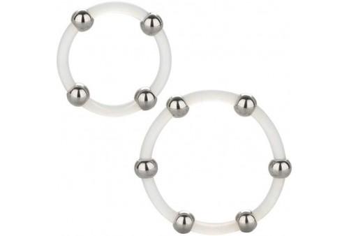 calex kit de 2 uds anillo de silicona con cuentas de acero