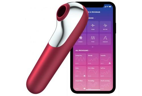 satisfyer dual love vibrador y succionador con aire pulsado rojo