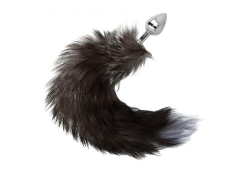 plug anal 8 cm cola marron y gris 40 cm