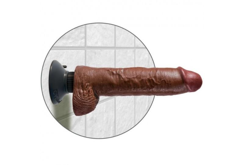 dildo vibrador king cock con testiculos 255 cm color marron