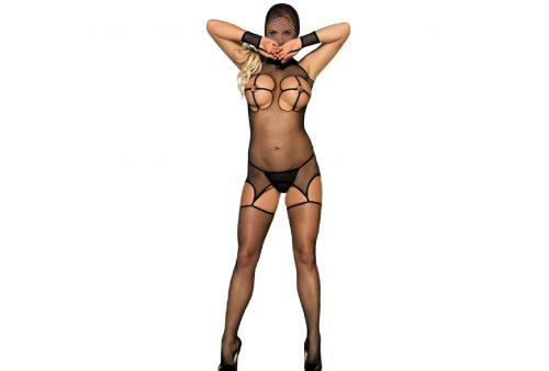 queen lingerie bodystocking con gorro pechos descubiertos s l