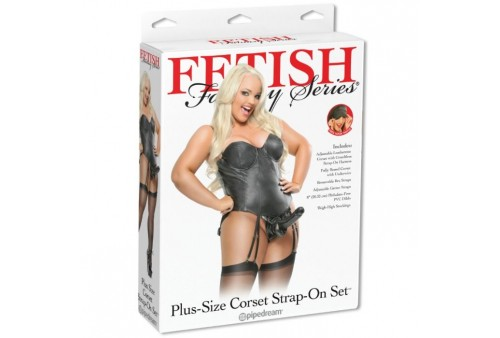 corset con strap on talla grande plus fetish fantasy series