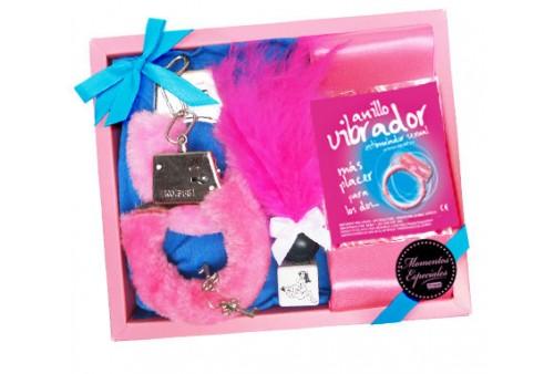 kit erotico plumero anillo vibrator rosa