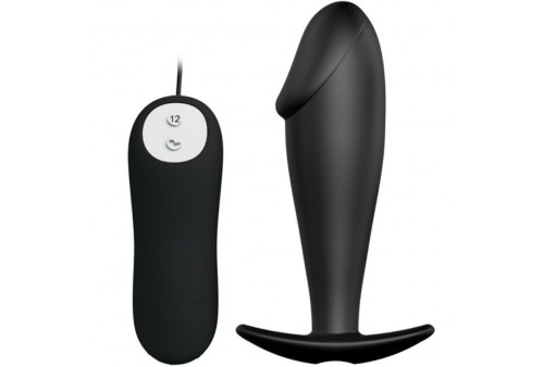 pretty love plug anal silicona forma pene y 12 modos vibracion negro