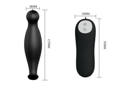 pretty love plug anal silicona 12 modos vibracion negro