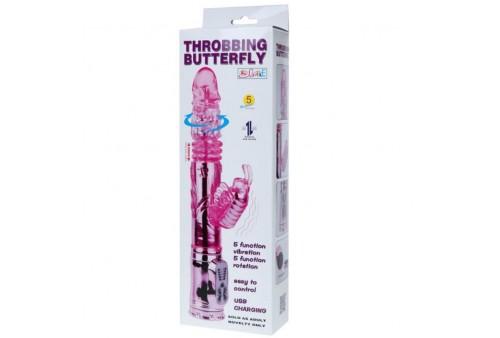 vibrador recargable con rotacion y estimulador throbbing butterfly