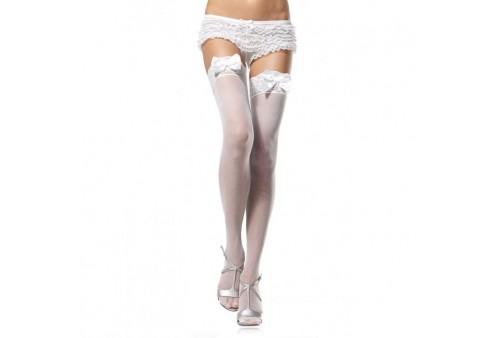 leg avenue medias blancas con detalle superior de encaje y lazo satinado