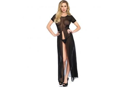 leg avenue vestido largo transparente con abertura frontal talla m l