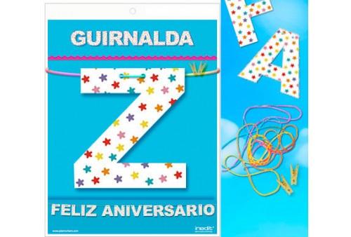 guirnalda feliz aniversario cartulina 220gr