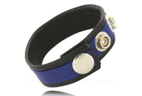 metal hard correa de cuero ajustable para pene azul negra