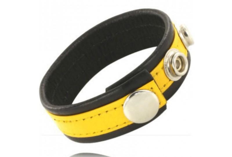 metal hard correa cuero ajustable pene amarillo negra