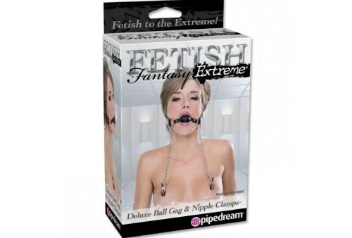 mordaza deluxe con pinzas pezones con cadenas fetish fantasy extreme