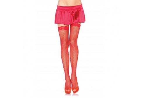 leg avenue medias de red pequeña con encaje rojas